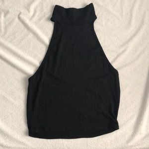 ribbed turtle neck tank with open back